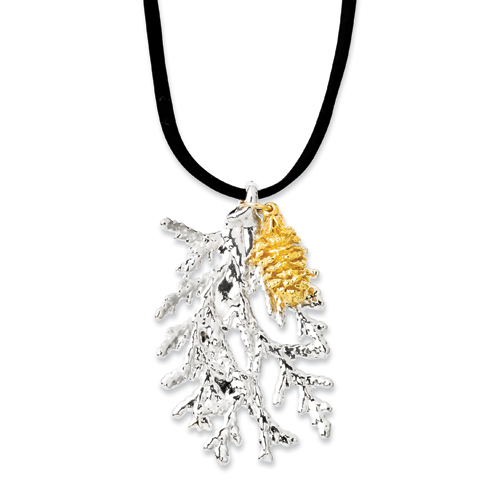 14k.co Silver Cypress Leaf/24k Gold Dipped Pine Cone Leaf Necklace at Sears.com