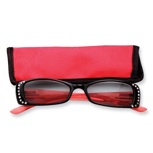 14k.co Red Rhinestone 1.25 Magnification Sun Reading Glasses