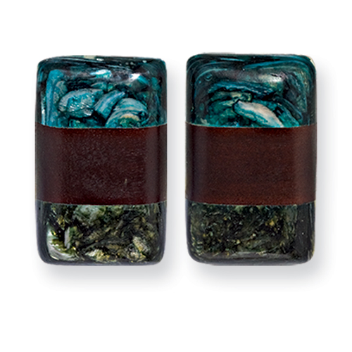 Vishal Jewelry Earrings Tapak Wood & Green/Blue Broken Capiz 1.5in Rect. Clip on Earrings at Sears.com