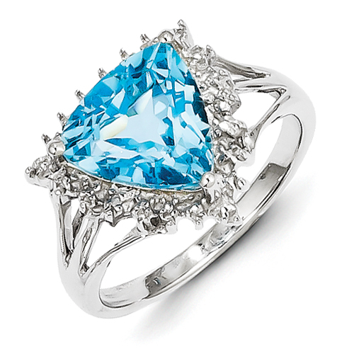 14k co. Sterling Silver Rhodium Trillion Lt Swiss Blue Topaz & Diamond Ring, Best Quality Free Gift Box Satisfaction Guaranteed ...