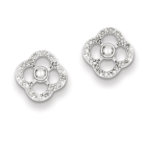 14k co. Sterling Silver Rhodium Plated Diamond Earring Jackets W/ Studs, Best Quality Free Gift Box Satisfaction Guaranteed