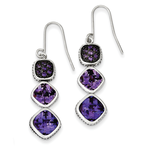 14k co. Sterling Silver Antiqued Purple Cz Dangle Earrings, Best Quality Free Gift Box Satisfaction Guaranteed