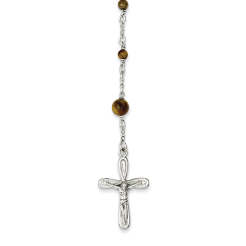 14k co. Sterling Silver Polished Tiger Eye Rosary Necklace, Best Quality Free Gift Box Satisfaction Guaranteed
