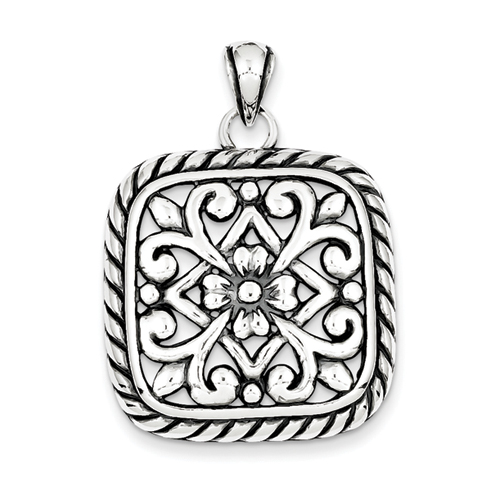 14k co. Sterling Silver Antiqued Square Floral Pendant, Best Quality Free Gift Box Satisfaction Guaranteed at Sears.com