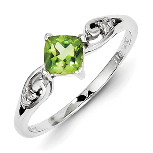 14k co. Sterling Silver Rhodium Plated Diamond And Peridot Cushion Ring, Best Quality Free Gift Box Satisfaction Guaranteed
