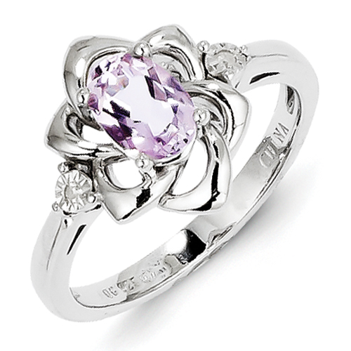 14k co. Sterling Silver Diamond & Pink Amethyst Ring, Best Quality Free Gift Box Satisfaction Guaranteed