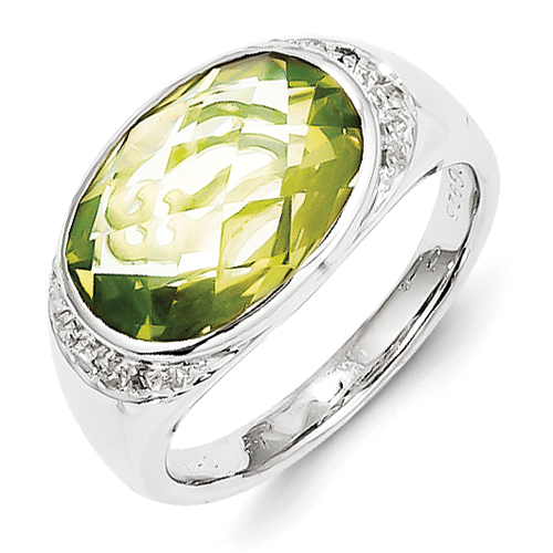 14k co. Sterling Silver Diamond And Lime Quartz Ring, Best Quality Free Gift Box Satisfaction Guaranteed
