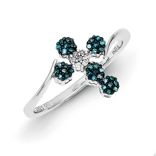 14k co. Sterling Silver Blue And White Diamond Cross Ring, Best Quality Free Gift Box Satisfaction Guaranteed