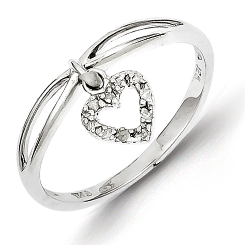 14k co. Sterling Silver Rhodium Plated Diamond Heart Dangle Ring, Best Quality Free Gift Box Satisfaction Guaranteed