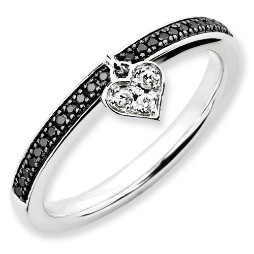 Stackable Expressions Sterling Silver Heart Black & White Dia. Ring by Stackable Expressions, Best Quality Free Gift Box Satisfaction Guaranteed