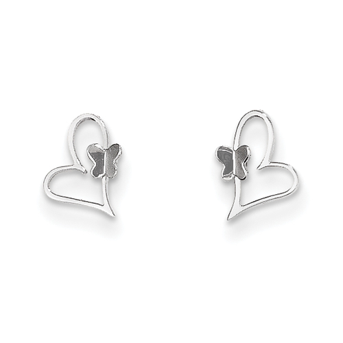 14k co. 14k White Gold Madi K Heart W/butterfly Post Earrings, Best Quality Free Gift Box Satisfaction Guaranteed