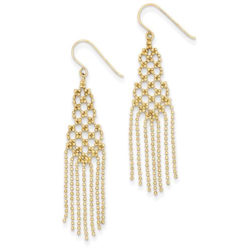 14k co. 14k Bead Chain Earrings, Best Quality Free Gift Box Satisfaction Guaranteed