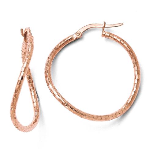 Vishal Jewelry Earrings 10k Rose Gold Leslies Rose Gold Textured Hinged Hoop Earrings at Sears.com