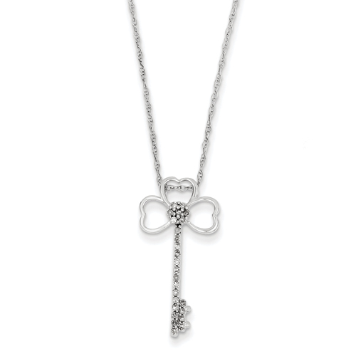 14k co. 14k White Gold Clover Diamond Key Necklace, Best Quality Free Gift Box Satisfaction Guaranteed