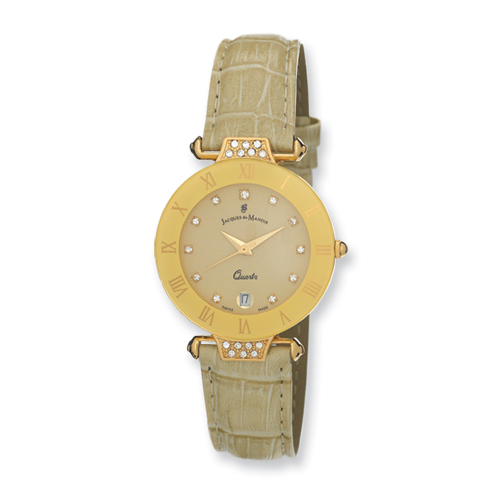 VI Star Ladies Jacques Du Manoir Beige Strap Crystal Accent Watch, Best Quality Free Gift Box Satisfaction Guaranteed at Sears.com
