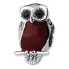 Reflection Beads Sterling Silver Brown Enameled Wise Owl Bead