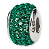 Reflection Beads Sterling Silver  Medium Green Full Swarovski Elements Bead