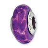 Reflection Beads Sterling Silver Purple Giraffe Glitter Italian Murano Glass Bead