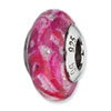Reflection Beads Sterling Silver Hot Pink &amp; Glitter Italian Murano Glass Bead