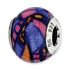 Reflection Beads Sterling Silver Multicolor w/Glitter Italian Murano Glass Bead