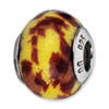 Reflection Beads Sterling Silver Yellow &amp; Brown Glitter Italian Murano Glass Bead