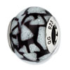 Reflection Beads Sterling Silver White/Black w/Glitter Italian Murano Glass Bead