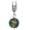 Reflection Beads Sterling Silver Green Dichroic Glass Dangle Bead