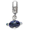 Reflection Beads Sterling Silver Blue Dichoric Glass Dangle Bead