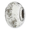 Reflection Beads Sterling Silver White w/Platinum Foil Ceramic Bead