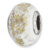 Reflection Beads Sterling Silver White w/Gold Foil Ceramic Bead