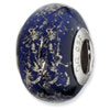 Reflection Beads Sterling Silver Dark Blue w/Platinum Foil Ceramic Bead