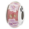 Reflection Beads Sterling Silver Light Pink w/ Purple Flower Hand Blown Glass Bead