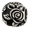 Reflection Beads Sterling Silver Black Enameled Floral Theme Bali Bead