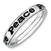 Stackable Expressions Sterling Silver Polished Enameled Peace Ring