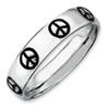 Stackable Expressions Sterling Silver Polished Enameled Peace Sign Ring