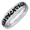 Stackable Expressions Sterling Silver Polished Enameled Scroll Ring