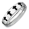 Stackable Expressions Sterling Silver Polished Enameled Cross Ring