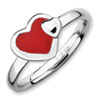 Stackable Expressions Sterling Silver Polished Red Enameled Heart Ring