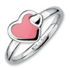 Stackable Expressions Sterling Silver Polished Pink Enameled Heart Ring