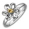 Stackable Expressions Sterling Silver Polished Citrine Flower Ring
