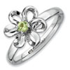 Stackable Expressions Sterling Silver Polished Peridot Flower Ring