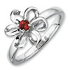 Stackable Expressions Sterling Silver Polished Garnet Flower Ring