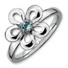 Stackable Expressions Sterling Silver Polished Blue Topaz Flower Ring