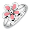 Stackable Expressions Sterling Silver Polished Pink Enameled Flower Ring