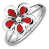 Stackable Expressions Sterling Silver Polished Red Enameled Flower Ring