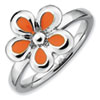 Stackable Expressions Sterling Silver Polished Orange Enameled Flower Ring