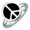 Stackable Expressions Sterling Silver Polished Black Enameled Peace Sign Ring