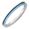 Stackable Expressions Sterling Silver Blue Enameled 1.5mm Ring