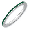 Stackable Expressions Sterling Silver Green Enameled 1.5mm Ring