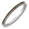 Stackable Expressions Sterling Silver Brown Enameled 1.5mm Ring